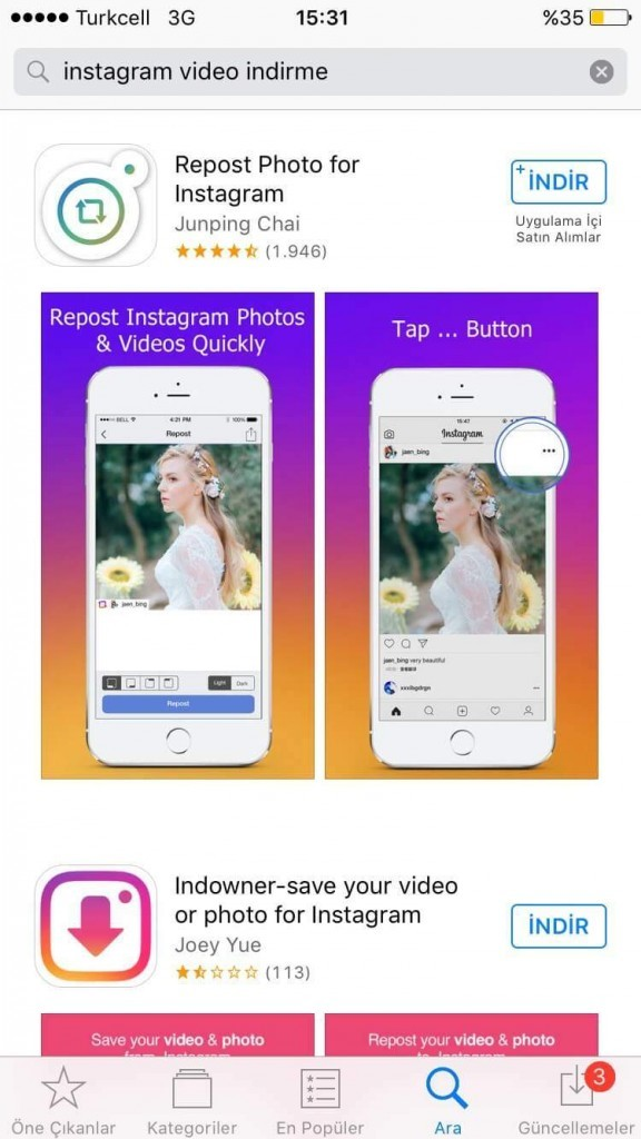 instagram video indirme iphone