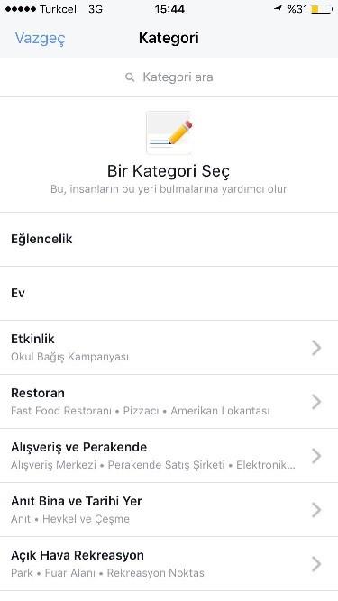 instagram konum kategori seçme
